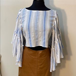 Kimchi Blue 100% Cotton Crop Top with Flare sleeve
